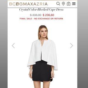 NWT BCBGMAXAZRIA Crystal Color-Blocked Cape Dress